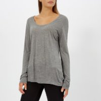 T-by-Alexander-Wang-Womens-Drapey-Jersey-Long-Sleeve-TShirt-with-Darting-Detail-Heather-Grey-XS-Grey