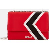 Karl Lagerfeld Womens K/Stripes Shoulder Bag - Red