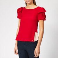 Armani Exchange Women's Short Ruffle Sleeve Blouse - Bloody Mary - L - Red