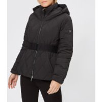 Armani Exchange Womens Short Quilted Hooded Coat - Black - XS - Black