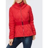 Armani Exchange Short Quilted Hooded Coat - Bloody Mary