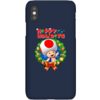 Toad Happy Holidays Phone Case for iPhone and Android - iPhone X - Snap Case - Gloss - Happy Gifts