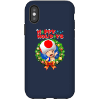Toad Happy Holidays Phone Case for iPhone and Android - iPhone X - Tough Case - Gloss - Happy Gifts