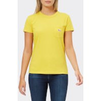 Maison-Kitsun-Womens-Tricolour-Fox-Patch-TShirt-Mustard-XS-Yellow