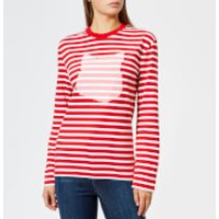 Maison-Kitsun-Womens-Par-Rec-Marin-Print-Fox-Patch-TShirt-Red-White-M-RedWhite