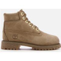 Timberland Kids' 6 Inch Premium Waterproof Leather Boots - New Greige Waterbuck - UK 12 Kids