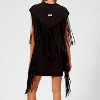 MSGM-Womens-Sleeveless-Oversized-Fringed-Sweat-Dress-Black-S-Black
