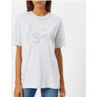 MSGM-Womens-Crystal-Logo-TShirt-Grey-L-Grey