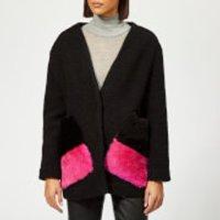 Anne Vest Pine Knit Cardigan With Fur Pockets - Black With Black/pink Pockets