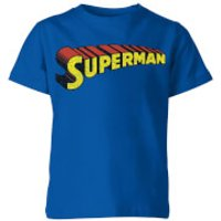DC Superman Telescopic Crackle Logo Kids' T-Shirt - Royal Blue - 11-12 Years - Royal Blue - Superhero Gifts