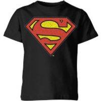 Originals Official Superman Crackle Logo Kids' T-Shirt - Black - 11-12 Years - Black - Dc Comics Gifts