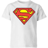 DC Originals Official Superman Shield Kids' T-Shirt - White - 11-12 Years - White - Dc Comics Gifts