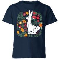My Little Rascal Scandi Rabbit Pattern Kids' T-Shirt - Navy - 11-12 Years - Navy - Rabbit Gifts