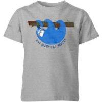 My Little Rascal Eat Sleep Eat Repeat Kids' T-Shirt - Grey - 11-12 Years - Grey - Sleep Gifts
