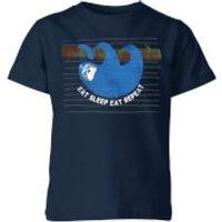 My Little Rascal Eat Sleep Eat Repeat Kids' T-Shirt - Navy - 11-12 Years - Navy - Sleep Gifts