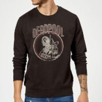 Marvel Deadpool Vintage Circle Sweatshirt - Black - XXL - Black - Vintage Gifts