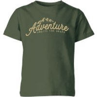 Adventure Awaits The Brave Kids' T-Shirt - Forest Green - 11-12 Years - Forest Green - Adventure Gifts