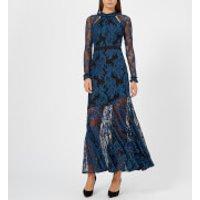 Three Floor Womens Realeza Maxi Dress - Skydiver Blue/Black - UK 10 - Black