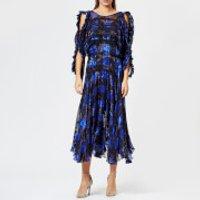 Preen-By-Thornton-Bregazzi-Womens-Satin-Devor-Robin-Dress-Blue-Gingham-S-Blue
