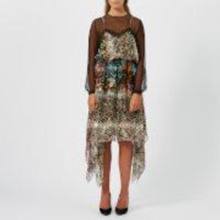 Preen-By-Thornton-Bregazzi-Womens-Satin-Devore-Fredi-Dress-Floral-Snake-M-Multi