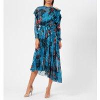 Preen-By-Thornton-Bregazzi-Womens-Satin-Devor-Stephanie-Dress-Blue-Painted-Flower-M-Blue
