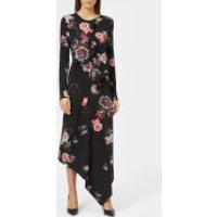 Preen-By-Thornton-Bregazzi-Womens-Nita-Stretch-Dress-Grid-Floral-M-Black