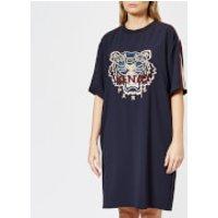 KENZO-Womens-Crepe-Back-Satin-Tiger-Dress-Navy-Blue-XS-Blue