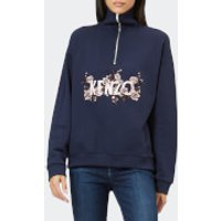 KENZO-Womens-Light-Cotton-Molleton-Zip-Top-Navy-S-Blue