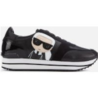Karl Lagerfeld Women's Velocita II Leather/Suede Karl Ikonic Meteor Lace Runner Trainers - Black - U