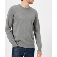 Lacoste Men's Cotton Crew Neck Knitted Jumper - Galaxite Chine/Flour - 3/S - Grey/White