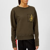 JW Anderson Women's Raw Edge Logo Sweatshirt with Pocket Detail - Khaki - M - Green