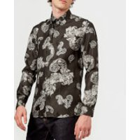 Versace Collection Men's Patterned Long Sleeve Shirt - Grigio - EU 38/UK 15 - Grey