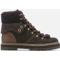 See By Chloe Women's Suede/Shearling Lined Hiking Styled Boots - Graphite/Natural - UK 5