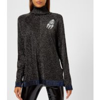 Karl Lagerfeld Women's Space Karl Lurex Knitted Jumper with Patches - Black - M - Black