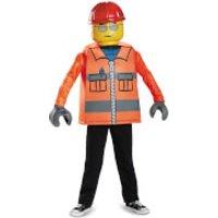 LEGO Iconic Kids Construction Worker Classic Fancy Dress - Orange - M/7-8 Years - Orange