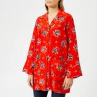 Ganni-Womens-Kochhar-Shirt-Fiery-Red-EU-34UK-6-Red