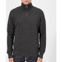 Barbour Men's Lambswool Half Zip Knitted Jumper - Charcoal - L - Grey