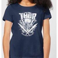 Marvel Thor Ragnarok Thor Hammer Logo Women's T-Shirt - Navy - S - Navy