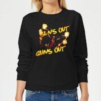 Image of Marvel Deadpool Suns Out Guns Out Women's Sweatshirt - Black - L - Black
