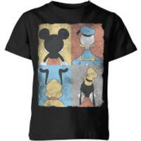 Disney Donald Duck Mickey Mouse Pluto Goofy Tiles Kids' T-Shirt - Black - 11-12 Years - Black - Duck Gifts