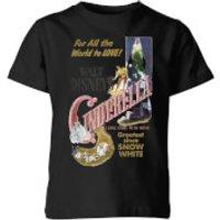 Disney Disney Princess Cinderella Retro Poster Kids' T-Shirt - Black - 11-12 Years - Black - Poster Gifts