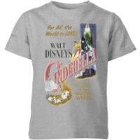 Disney Disney Princess Cinderella Retro Poster Kids' T-Shirt - Grey - 5-6 Years - Grey - Poster Gifts