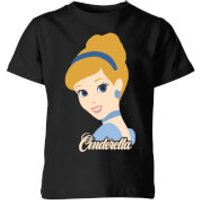 Disney Princess Colour Silhouette Cinderella Kids' T-Shirt - Black - 5-6 Years - Black - Disney Princess Gifts
