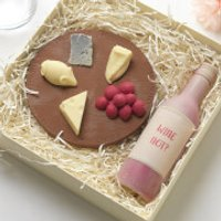Choc on Choc Chocolate Cheese Board and Wine Bottle