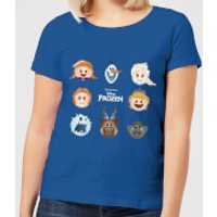 Disney Frozen Emoji Heads Women's T-Shirt - Royal Blue - XL - Royal Blue