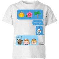Disney Frozen I Love Heat Emoji Kids' T-Shirt - White - 3-4 Years - White