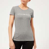 Emporio-Armani-Womens-Iconic-Logoband-TShirt-Dark-Melange-Grey-M-Grey