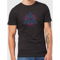 Harry Potter Neon Deathly Hallows Men's T-Shirt - Black - M - Black