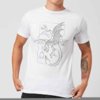 Harry Potter Dragon Line Art Men's T-Shirt - White - XXL - White - Dragon Gifts