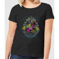 Harry Potter Neon Hogwarts Crest Women's T-Shirt - Black - S - Black